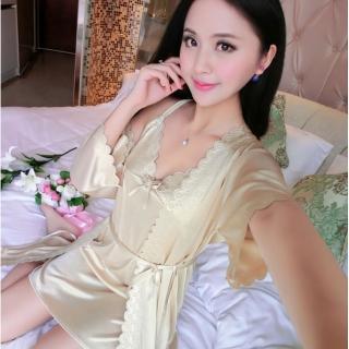 【Secret Lover】性感冰絲衣裙二件式居家睡衣SG003