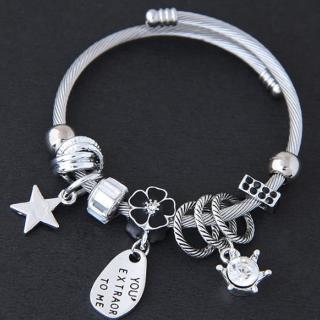 【Angel】典雅氣質花朵星星水鑽鋼飾手鍊(3色可選)