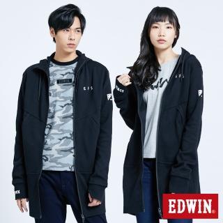 【EDWIN】EFS 長版連帽拉T外套-中性款(黑色)