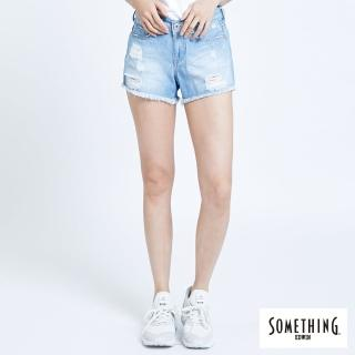 【SOMETHING】CELEB不收邊牛仔短褲-女款(漂淺藍)