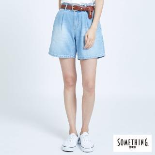 【SOMETHING】百慕達斜袋短褲-女款(拔淺藍)
