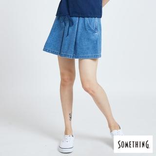 【SOMETHING】立體深摺牛仔褲裙-女款(漂淺藍)