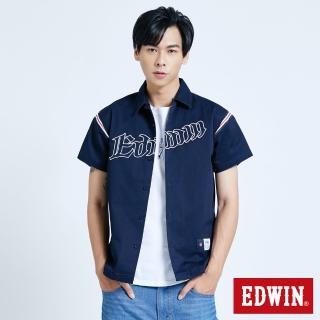 【EDWIN】復古運動 繡花短袖襯衫-男款(黑藍色)