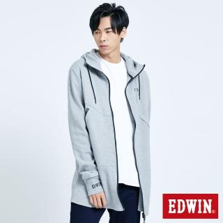 【EDWIN】EFS 長版連帽拉T外套-中性款(麻灰色)