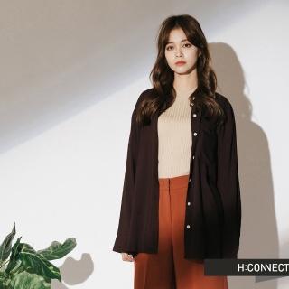 【H:CONNECT】韓國品牌 女裝 - 單口袋柔軟素面襯衫(咖啡色)