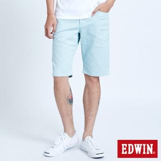 【EDWIN】EDGE基本五袋短褲-男款(淺藍綠)