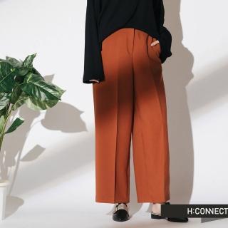 【H:CONNECT】韓國品牌 女裝 - 簡約後鬆緊寬褲(棕色)
