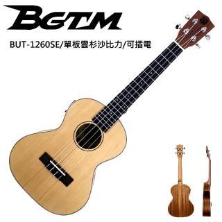 【BGTM】嚴選單板BUT-1260SE雲杉沙比力26吋電烏克麗麗(內建調音器)