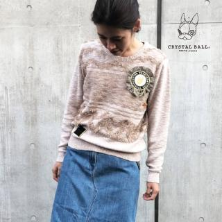 【CRYSTAL BALL 狗頭包】Needlework rosette knit針織上衣(狗頭包)