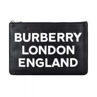 【BURBERRY 巴寶莉】BURBERRY白字LOGO牛皮6卡拉鍊手拿包(黑)