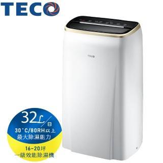 【TECO 東元】32L一級能效除濕機 MD3209RW(A級福利品-台灣製)