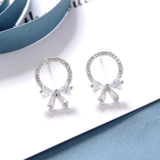 【HaNA 梨花】韓國925銀蝴蝶結細緻圈圈鑽石耳環