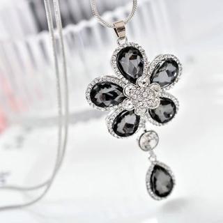 【HaNA 梨花】韓國優雅氣質花朵綻開水鑽花蕊垂墜毛衣鍊長項鍊