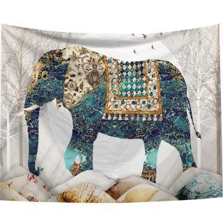 【半島良品】贈星星燈-印度風情藍大象/北歐掛布掛毯/IG熱門(掛毯 掛畫 沙灘巾 背景布 沙發巾 ins拍攝布景)