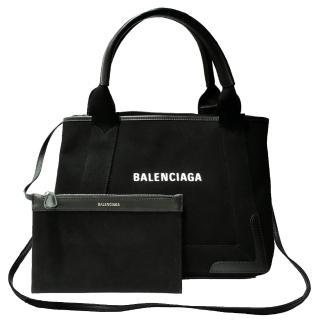 【Balenciaga 巴黎世家】390346 NAVY系列帆布X牛皮飾邊手提托特包(黑色-XS)