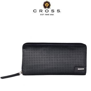 【CROSS】限量1.5折 頂級NAPPA小牛皮拉鍊長夾席德氣墊紋系列 福利品特價(99%新 專櫃展示品)