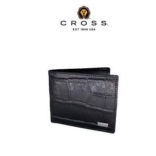 【CROSS】限量2.5折 頂級NAPPA小牛皮4卡1零錢袋鱷魚紋咬錢男用皮夾 福利品特價(99%新 專櫃展示品)