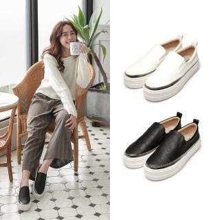 【FUFA Shoes 富發牌】厚底低調皮質懶人鞋-白  1BE33