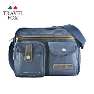【TRAVEL FOX 旅狐】撞色雙層隨身斜背包(TB605-47 藍色)