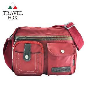 【TRAVEL FOX 旅狐】撞色雙層隨身斜背包(TB605-04 紅色)