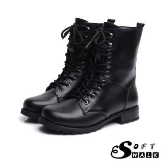 【SOFT WALK 舒步】經典款時尚綁帶真皮馬丁靴 機車靴(黑)