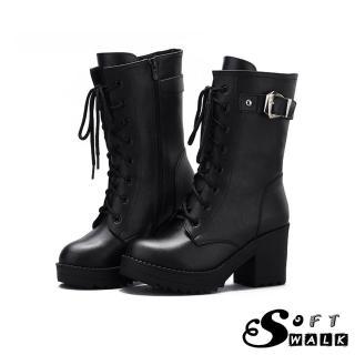 【SOFT WALK 舒步】真牛皮經典粗跟綁帶馬丁時尚釦飾高跟短靴(黑)