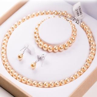 【Angel】優雅純潔之心貝珍珠項鍊耳環手環3件套組(2色可選)