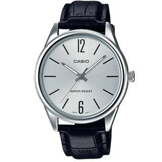【CASIO 卡西歐】經典商務型男指針真皮腕錶-數字銀面(MTP-V005L-7B)