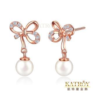 【KATROY】天然珍珠 925純 蝴蝶結造型 5.0-5.5 mm 白珍珠  耳針式耳環 FG5033(玫金款)