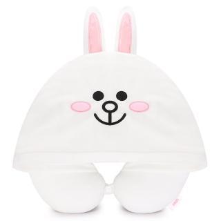 【GARMMA】LINE FRIENDS 連帽造型U型枕 兔兔(正版授權)