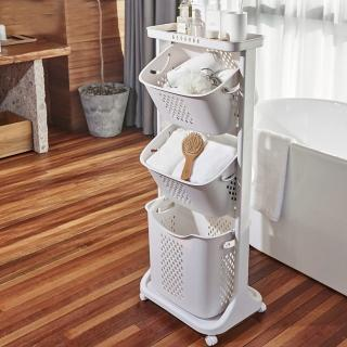【ONE HOUSE】三層帶滑輪髒衣籃-兩款可選