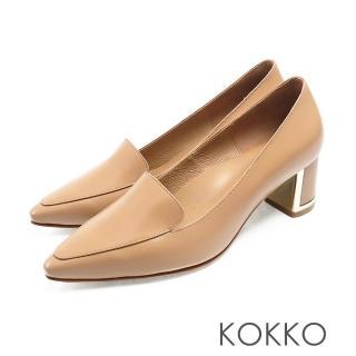 【KOKKO 集團】小方頭樂福金屬鑲邊真皮粗跟鞋(奶茶棕)
