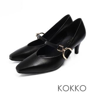 【KOKKO 集團】優雅瑪莉珍羊皮V口D扣高跟鞋(亮黑色)