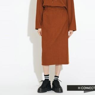 【H:CONNECT】韓國品牌 女裝 - 後開岔鬆緊中長裙(棕色)