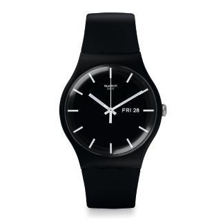 【SWATCH】原創系列手錶 MONO BLACK 單一黑(41mm)