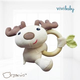 【Oragnic】有機棉麋鹿木環手握玩具(米咖)