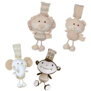【Oragnic】有機棉有聲震動玩具/安撫娃娃(大象/猴子/小熊/獅子)