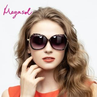 【MEGASOL】UV400防眩偏光太陽眼鏡時尚女仕大框矩方框墨鏡(精緻魅力魔球杖鏡架1850-6色選)