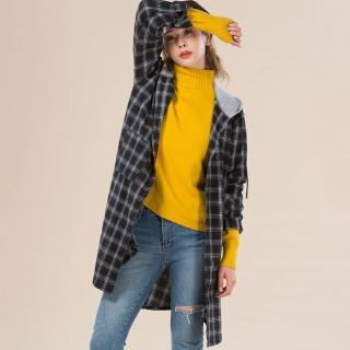 Yumie精梳法蘭棉經典格紋時尚長版上衣
