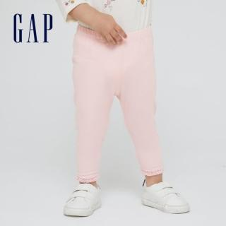【GAP】女嬰 柔軟蕾絲邊飾鬆緊腰打底褲(948214-淺粉色)