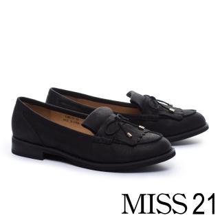 【MISS 21】經典蝴蝶結點綴流蘇牛皮低跟鞋(黑)