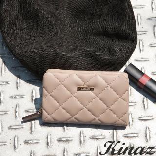 【KINAZ】菱格風琴卡片零錢包-自杏飛揚-龐克女孩系列