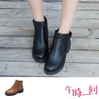 【午時一刻】個性手工縫線造型時尚皮帶釦飾粗跟短靴(2色任選)