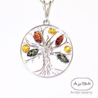 【Alamode】彩色生命樹琥珀項鍊 正能量十足(925銀項鍊 琥珀項鍊 生命樹)