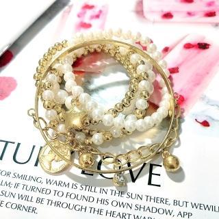 【Ada】歐美流行串珠珍珠多層次水鑽手環(萬聖節 道具 6入/組)