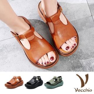 【Vecchio】真皮頭層牛皮T字魚口縷空舒適圓頭輕量厚底涼鞋(3色任選)