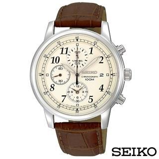 【SEIKO 精工】沉著風範三眼計時石英腕錶-米色面x40mm(SNDC31P1)