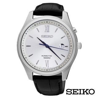 【SEIKO 精工】打造時尚質感人動電能皮革男錶-銀白面x42.5mm(SKA771P1)