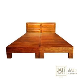 【吉迪市柚木家具】全柚木收納櫃式床頭床架組