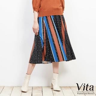 【mysheros 蜜雪兒】VITA 雪紡點點撞色條紋長裙(黑)
